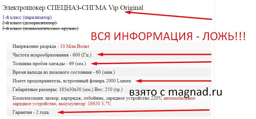 Электрошокер СПЕЦНАЗ-СИГМА отзывы